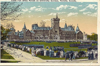 Drawing of Military Parade in front of the University of Toronto