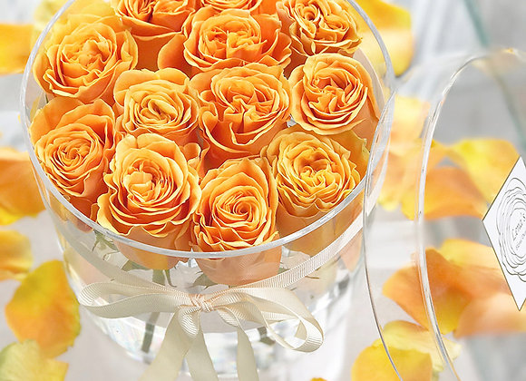 Exclusive Crystal Clear Box - 12 Orange Roses