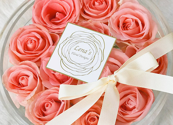 Exclusive Crystal Clear Box - 12 Peach Roses
