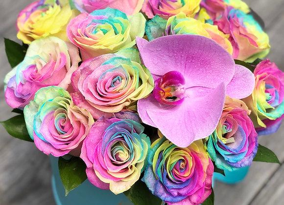 Premium Tiffany Blue Box - 18 Rainbow Roses & 1 Orchid