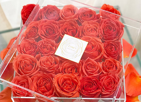 Exclusive Crystal Clear Box - 25 Burnt Orange Roses