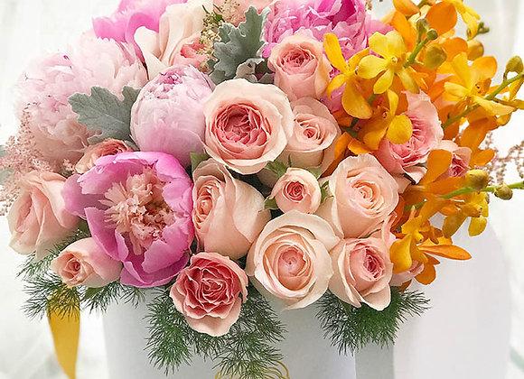 Signature White Box - Seasonal Mixed Peonies, Garden Roses & Orchids