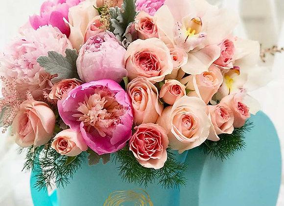 Premium Tiffany Blue Box - Seasonal Mixed Peonies, Garden Roses & Orchids