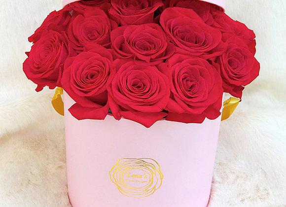 Premium Pink Box - Red Roses