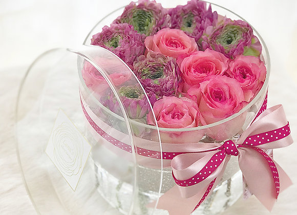 Exclusive Crystal Clear Box - Pink Roses & Ranunculus