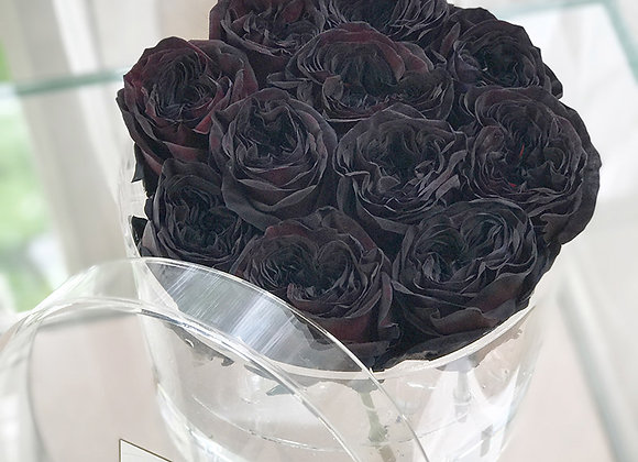 Exclusive Crystal Clear Box - 12 Black Roses