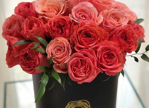 Premium Black Box - Coral & Pink Roses