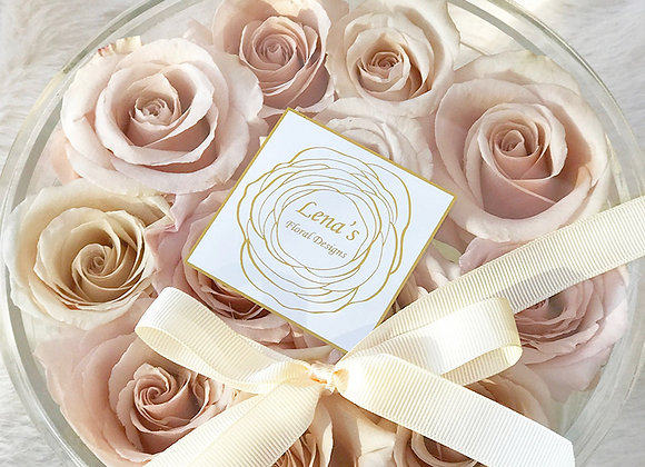 Exclusive Crystal Clear Box - 12 Dusty Pink Roses