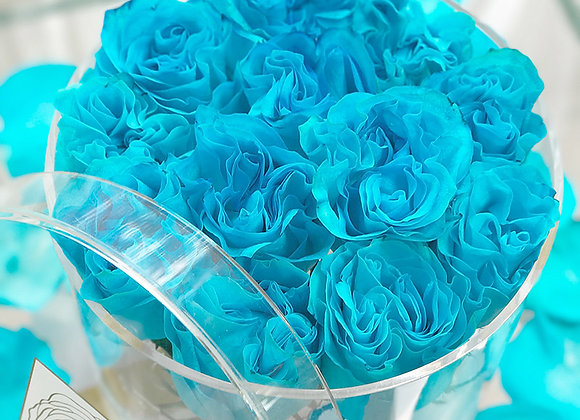 Exclusive Crystal Clear Box - 12 Blue Roses