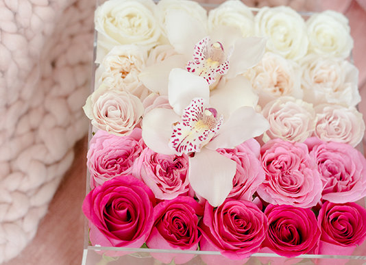 Exclusive Crystal Clear Box - 25 Ombré Roses & 1 Orchid