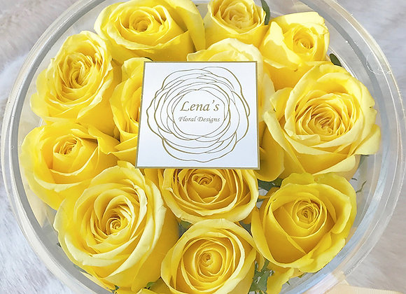 Exclusive Crystal Clear Box - 12 Yellow Roses
