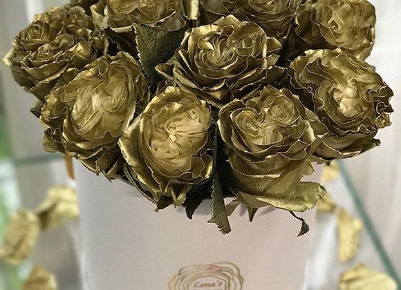 Premium White Box - Antique Gold Roses