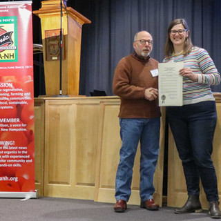 Andru Volinsky presented NOFA-NH Board President Amy Manzelli with a Commendation from the Governor.