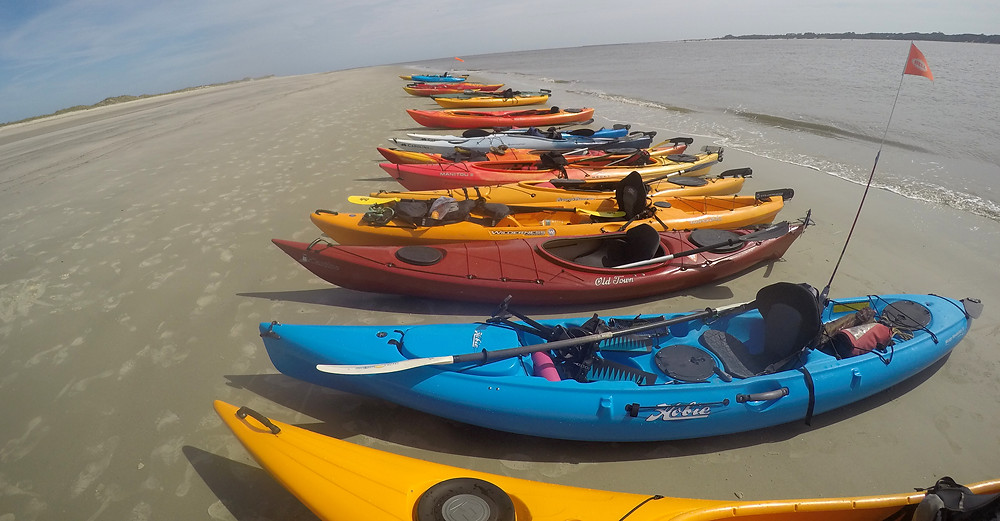 Kayaks on the beach of Cumberland Island
