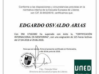 CERTIFICACIÓN MENTORING- Edgardo Arias