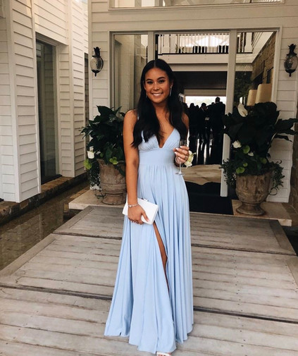 V Baby Blue Gown