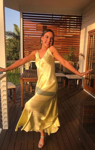 X Cross Back Butter Yellow Gown