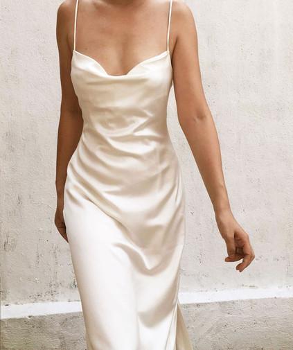 Nora Salmon Buff Gown