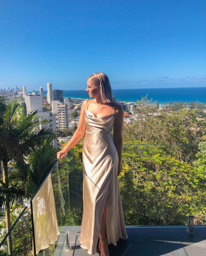 Fame and Partners | Strappy Champagne Gown
