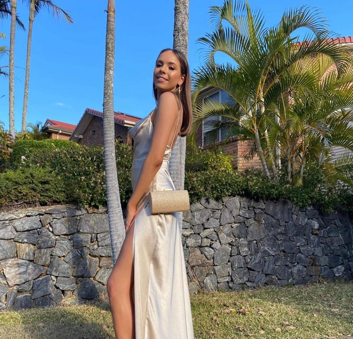 Strappy Draped Champagne Gown