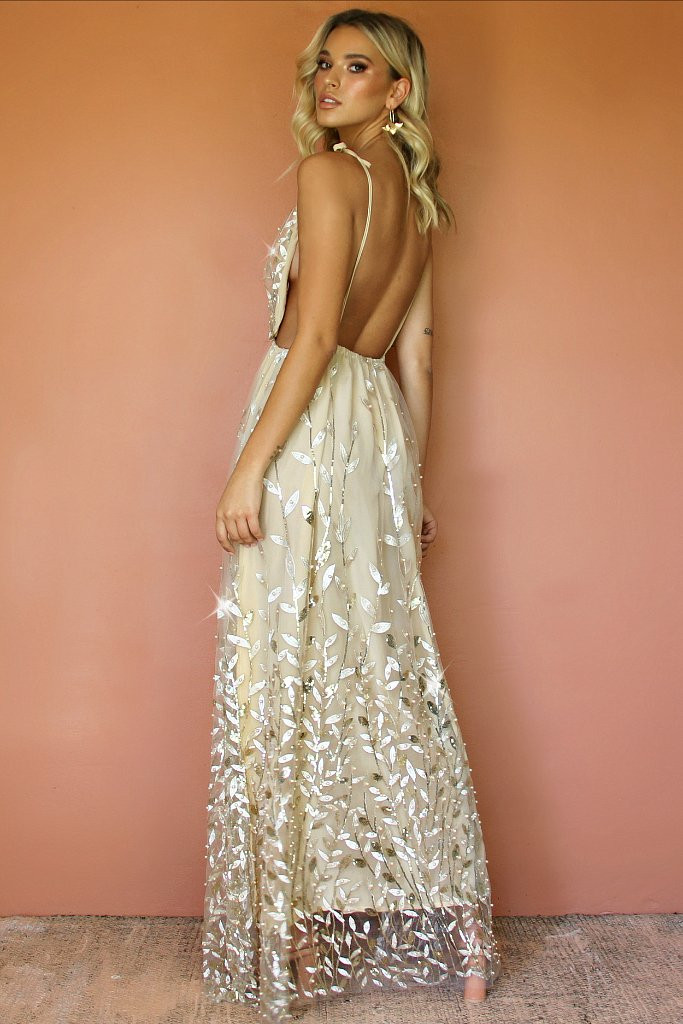 Vera Champagne Floral Gown
