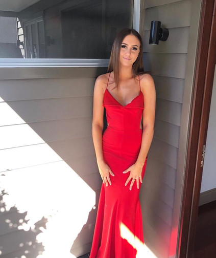 Famous Fold Over Red Gown