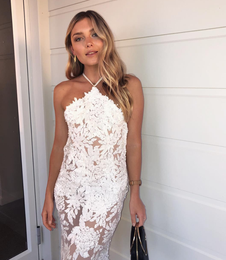 Floral Halter White Gown