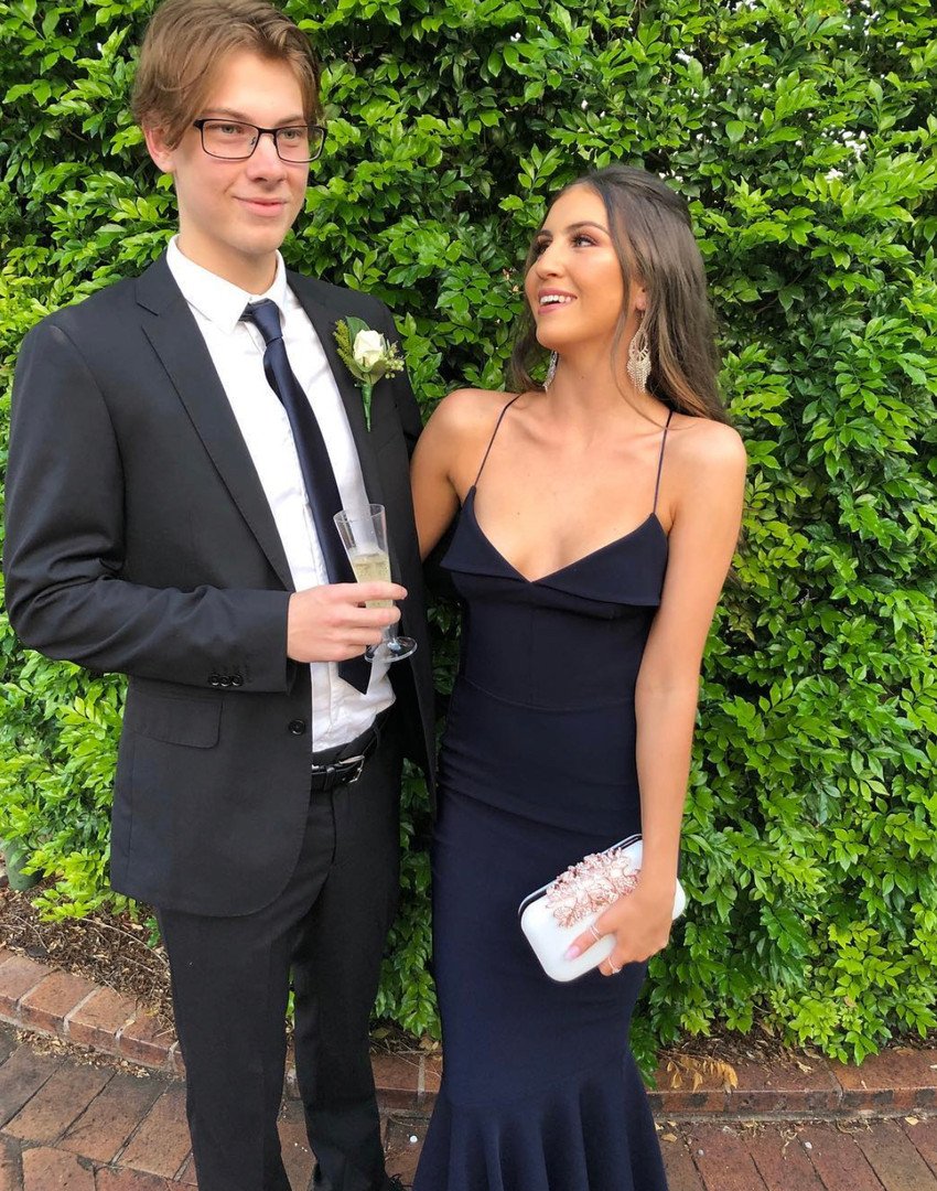 Famous Fold Over Navy Gown