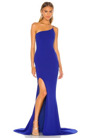 Jasmine One Shoulder Royal Sapphire Gown