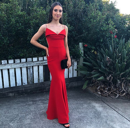 House of Ezis | Famous Fold Over Red Gown