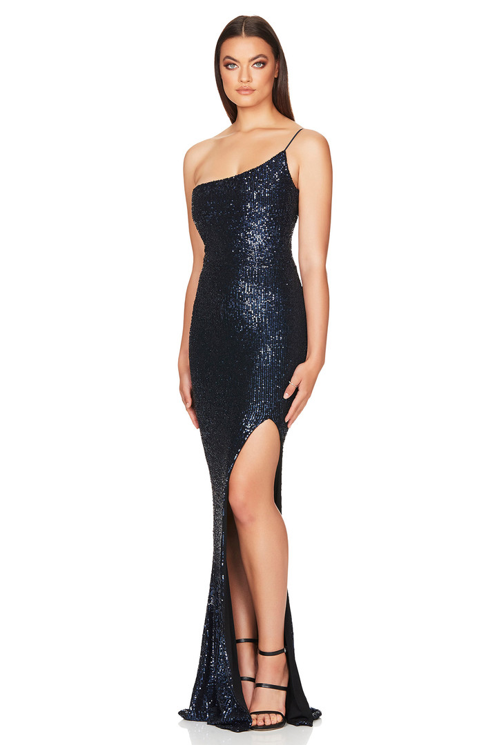 Demi One Shoulder navy Gown