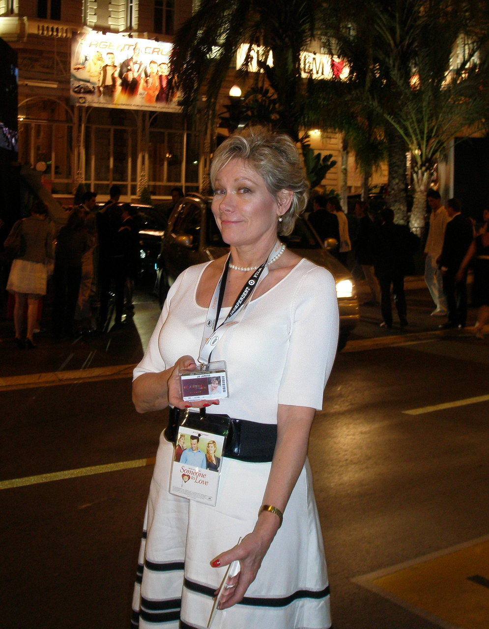 Jill+in+front+of+Carlton+Hotel++proudly+displaying+her+Cannes+Film+Festival+Pass
