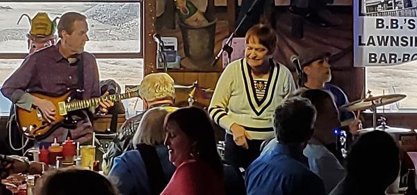 Jay EuDaly, Mama Ray, unidentified drummer at BBs - Feb 22, 2020