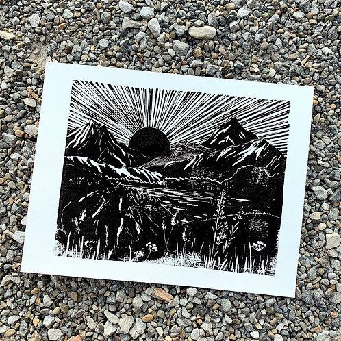 Sunrise in Valais, original lino print, 25x31 cm