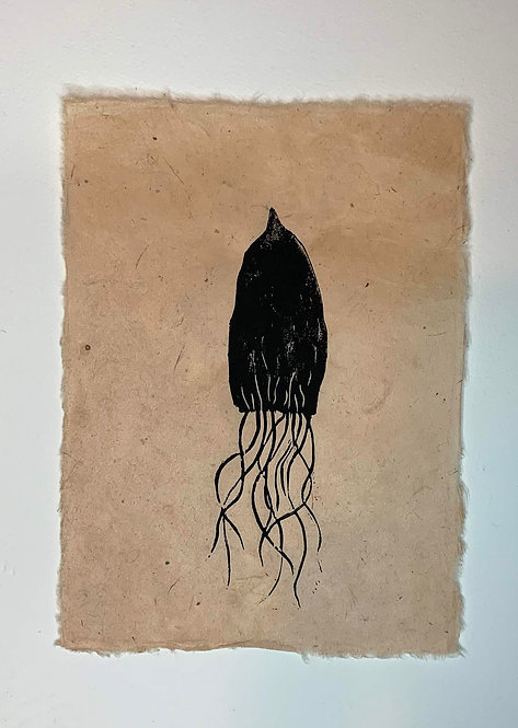 Squid original lino print