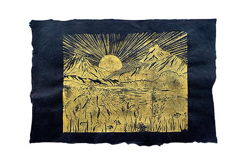 Sunrise in Valais, original lino print