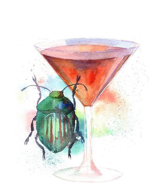 """Manhattan cocktail"" art print"