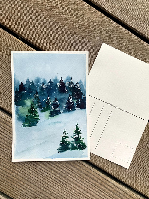 Trees in snow postcard