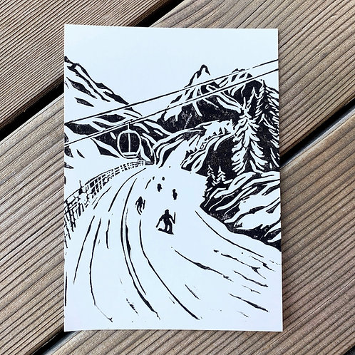 Down the slope, a postcard