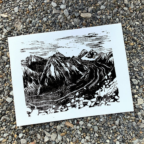 Aletsch Glacier, original lino print, 25x31 cm