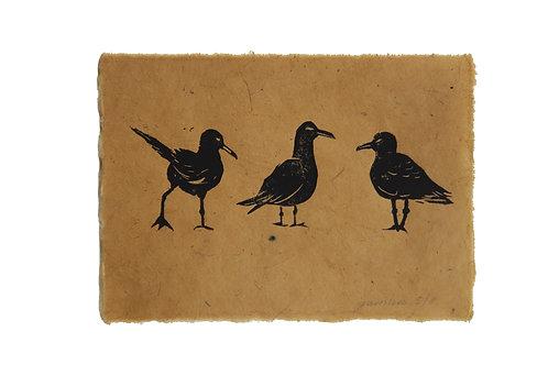 Seagulls, original lino print