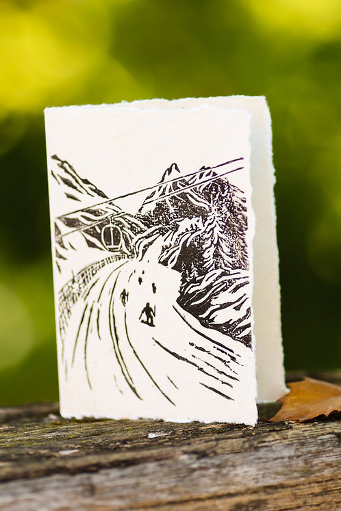 Down the slope, a greeting card and a piece of art in one