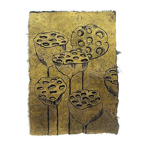 Lotus heads, original lino print