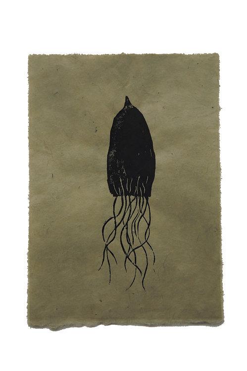 Squid, original lino print