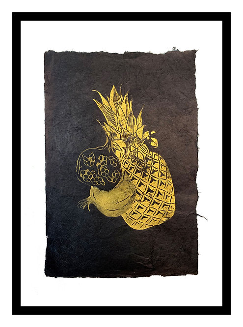 Fruits, original block print