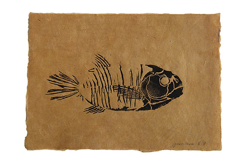 Fish fossil, original lino print
