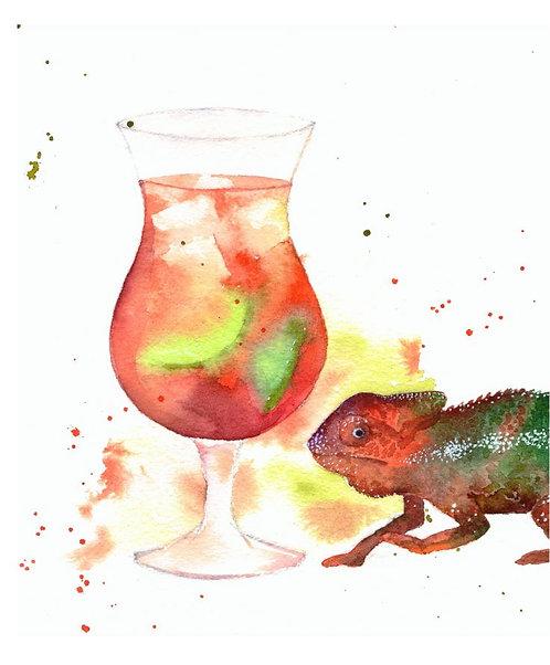 """Singapore Sling cocktail"" art print"
