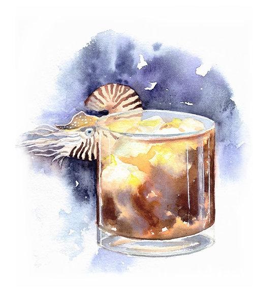 """White Russian cocktail"" art print"