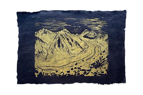 Aletsch Glacier, original lino print