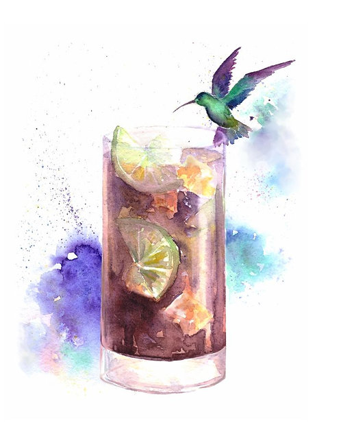 """""""Cuba Libre cocktail"""" art print"""